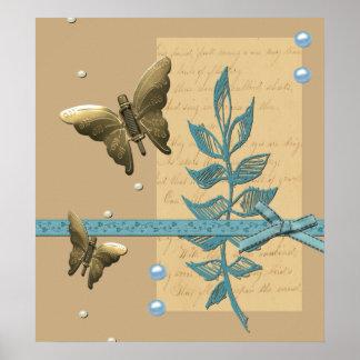 Collage bonito de la mariposa póster