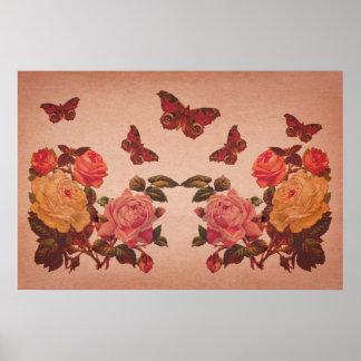 Collage bonito de los rosas y de las mariposas del póster