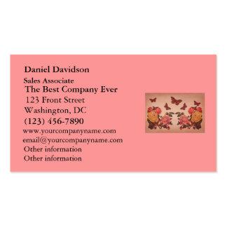 Collage bonito de los rosas y de las mariposas del plantillas de tarjetas de visita