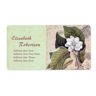 Collage botánico antiguo de la magnolia de la etiqueta de envío