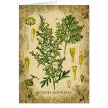 Collage botánico del ajenjo tarjetas