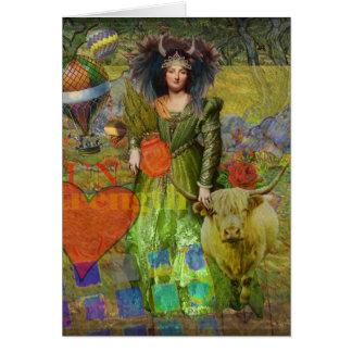 Collage caprichoso gótico de la fantasía del tauro tarjeta de felicitación