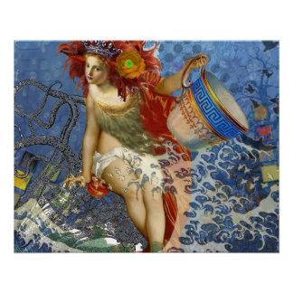 Collage caprichoso gótico de la mujer de la sirena perfect poster
