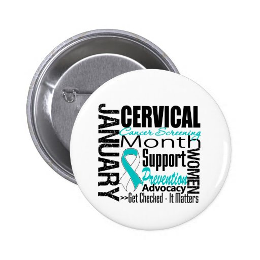 Collage - Cervical Cancer Screening Month Pinback Buttons