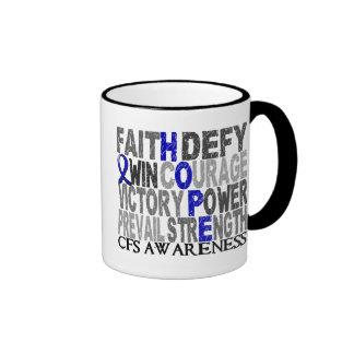 Collage CFS de la palabra de la esperanza Tazas De Café