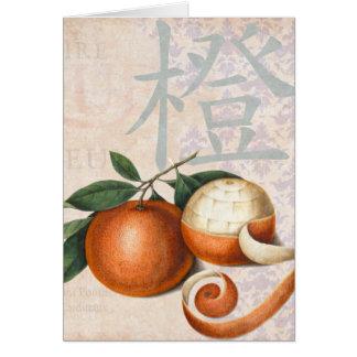 Collage chino antiguo del vintage de los naranjas tarjeta de felicitación