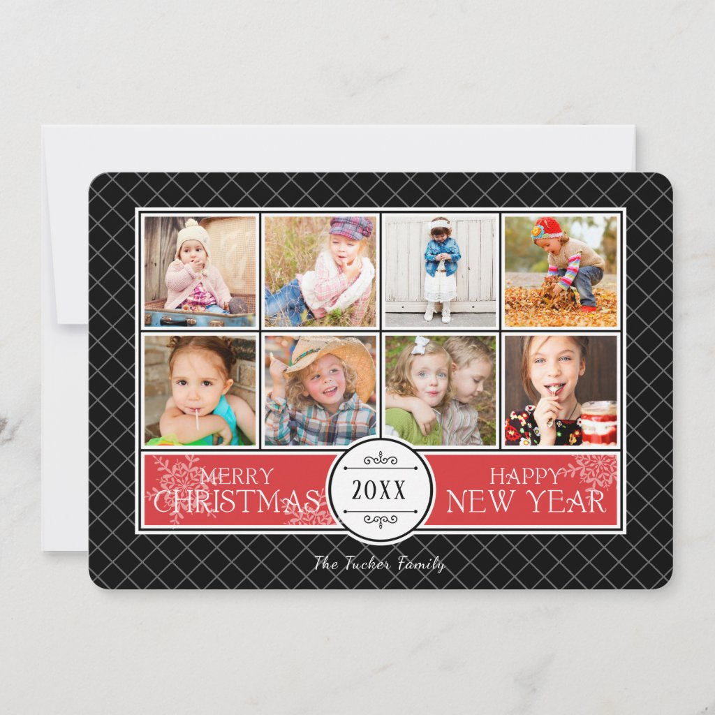 Collage Christmas Photo Card in Red and Black