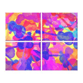Collage coloreado de la guitarra impresiones en lienzo estiradas