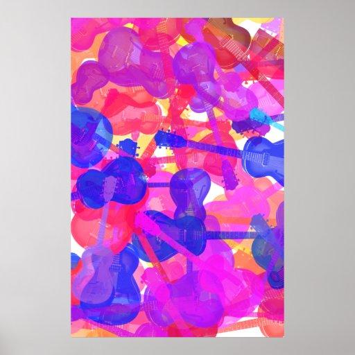 Collage coloreado de la guitarra poster