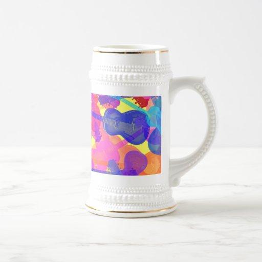 Collage coloreado de la guitarra taza de café