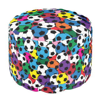 Collage coloreado multi del balón de fútbol puf redondo