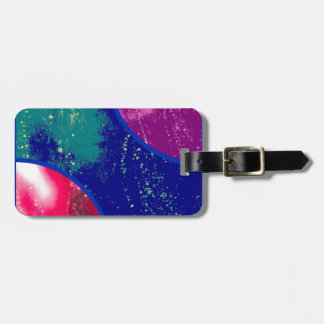 collage, colorful fluid items,abstract luggage tag
