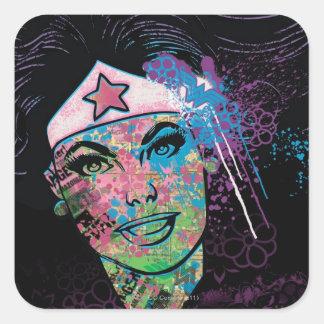 Collage colorido de la Mujer Maravilla Pegatina Cuadrada