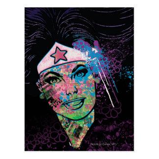 Collage colorido de la Mujer Maravilla Postal