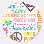 Collage colorido del texto de Supergirl Pegatina Redonda