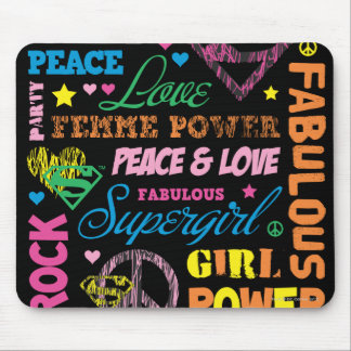 Collage colorido del texto de Supergirl Tapete De Ratón