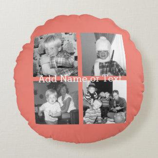 Collage con 4 imágenes - coral de la foto de cojín redondo