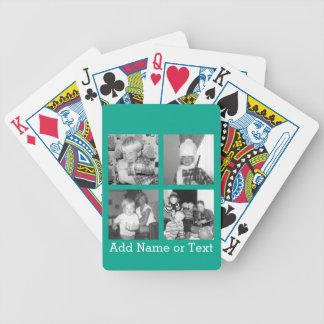 Collage con 4 imágenes - esmeralda de la foto de baraja de cartas bicycle