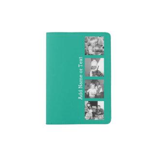 Collage con 4 imágenes - esmeralda de la foto de porta pasaporte