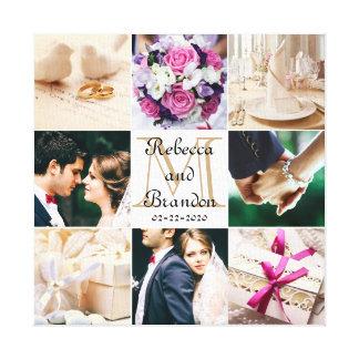 Collage con monograma de la foto del boda moderno impresiones de lienzo