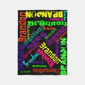Collage conocido de neón brillante colorido manta de forro polar