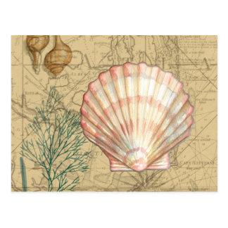 Collage costero del mapa tarjetas postales