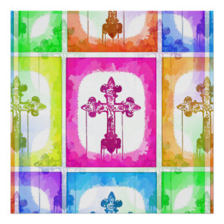 Collage cristiano del arte pop de las cruces color poster