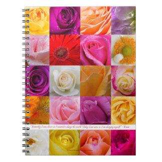 Collage cuadrado de la flor, cuaderno del