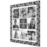 Collage cuadrado de la foto, Black&White Paisley 8 Impresión En Tela