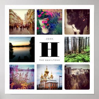 Collage cuadrado de la foto ocho con el monograma póster