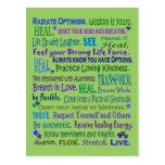 collage curativo de las palabras tarjetas postales