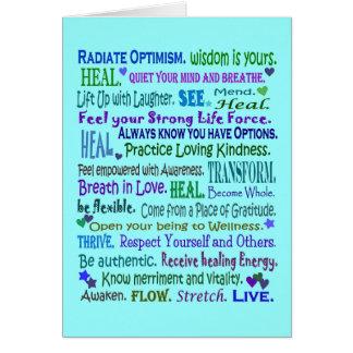 collage curativo del arte de las palabras tarjeta de felicitación