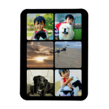 Collage Custom Photo Six Square Frame Picture Rectangle Magnets