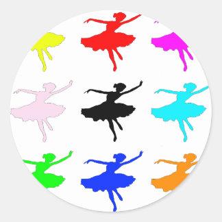 Collage Dancer1 Pegatina Redonda