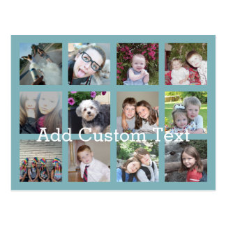 Collage de 12 fotos con el fondo azul suave tarjeta postal