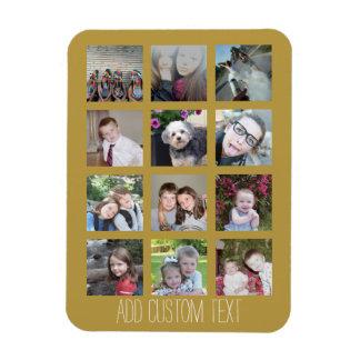 Collage de 12 fotos con el fondo del oro iman