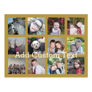 Collage de 12 fotos con el fondo del oro postal