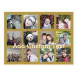 Collage de 12 fotos con el fondo del oro postales