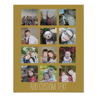 Collage de 12 fotos con el fondo del oro póster