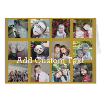 Collage de 12 fotos con el fondo del oro tarjeta de felicitación