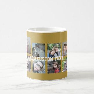 Collage de 12 fotos con el fondo del oro taza