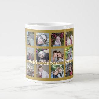 Collage de 12 fotos con el fondo del oro taza grande