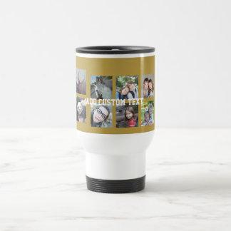 Collage de 12 fotos con el fondo del oro taza térmica