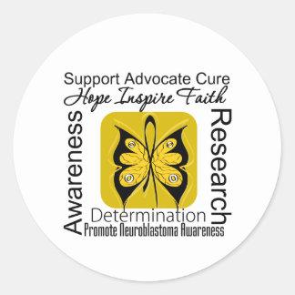 Collage de apoyo Neuroblastoma de las palabras Pegatina Redonda