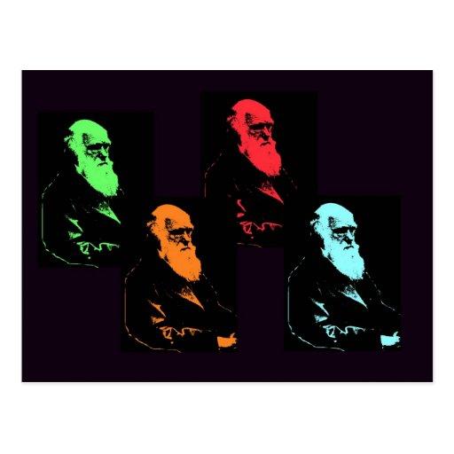 Collage de Charles Darwin Postal