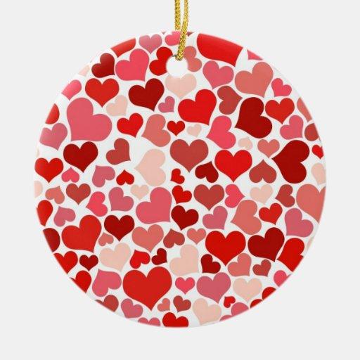 Collage de corazones adorno navideño redondo de cerámica