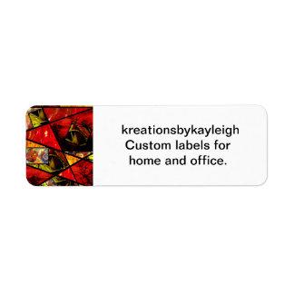 Collage de cristal de la foto de la mancha (rojos) etiqueta de remite