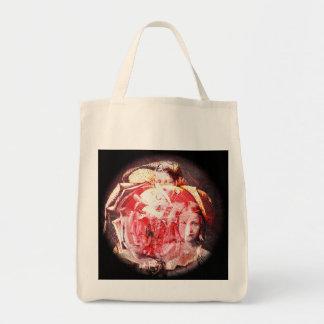 Collage de Digitaces de los chicas y de los rosas Bolsa Tela Para La Compra