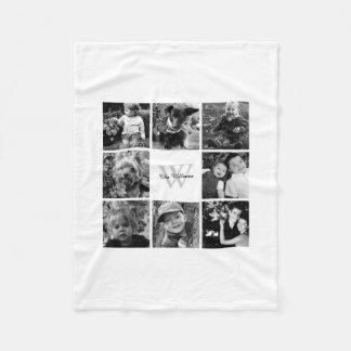 Collage de encargo blanco de la foto de familia manta de forro polar