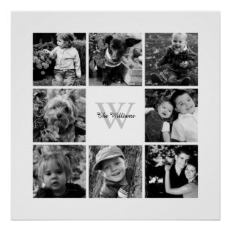 Collage de encargo de la foto de familia póster